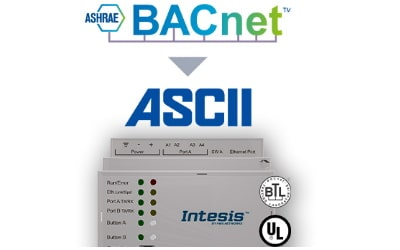 Intesis BACnet IP & MS/TP Client to ASCII IP & Serial Server Gateway