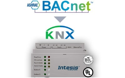 Intesis BACnet IP & MS/TP Client to KNX TP Gateway